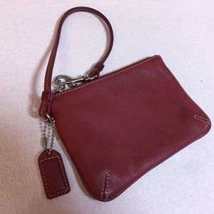 COACH Red Leather Small Hampton Wristlet Purse
